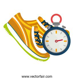 timer chronometer with tennis shoes