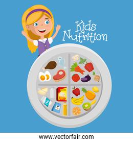 happy girl with nutrition food
