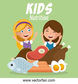 happy girls with nutrition food
