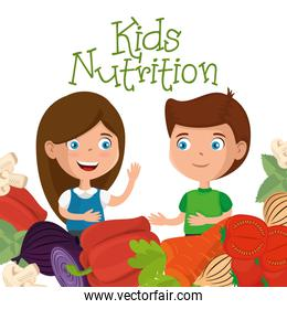 happy kids with nutrition food