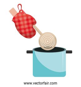 glove kitchen with spoon and pot