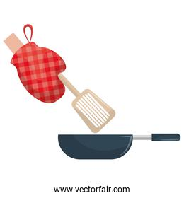 glove kitchen with pan and spatule