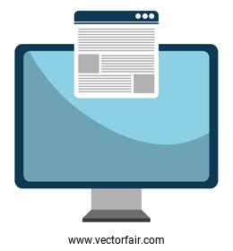 monitor computer with template webpage