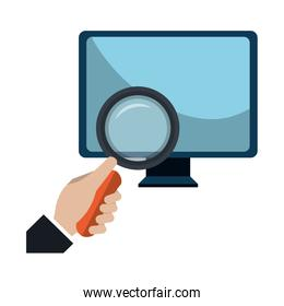 computer desktop with magnifying glass