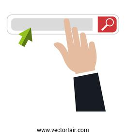 hand with search bar browser interface