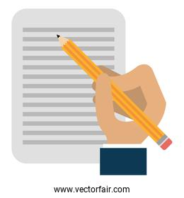 hand writing with pencil in document