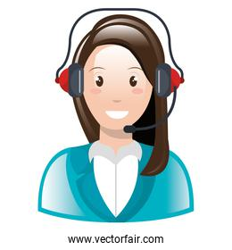 call center woman with headset character