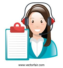 call center woman with headset and checklist