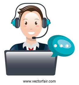 call center agent with headset and laptop