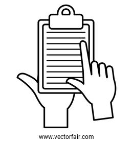 hand with checklist clipboard