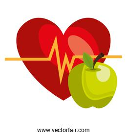 heart cardio with apple isolated icon