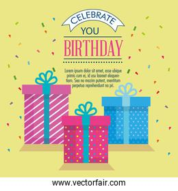 happy birthday card with gifts boxes
