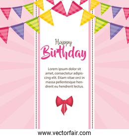happy birthday card with garlands