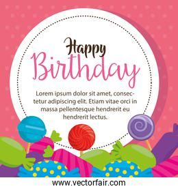 happy birthday card with candies