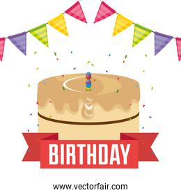 happy birthday card with cake and garlands