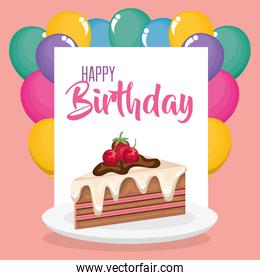 happy birthday card with cake portion