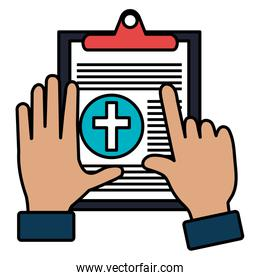 hands with medical order clipboard