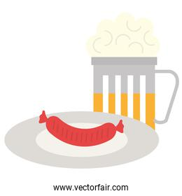 delicious sausage in dish with beer