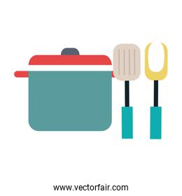 kitchen pot with fork and spatula