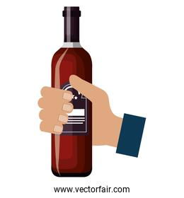 hand with wine bottle drink