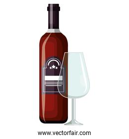 wine bottle with cup