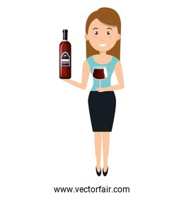 woman with wine bottle drink