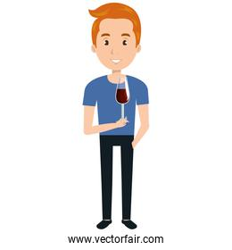 man with wine cup glass