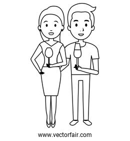 couple with wine cups characters