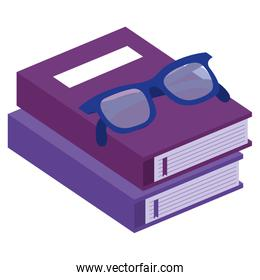 pile text books with glasses