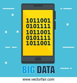 smartphone with big data icons