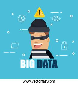 cyber thief with big data icons