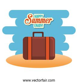 happy summer enjoy poster with suitcase