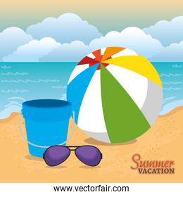 summer vacations beach with icons