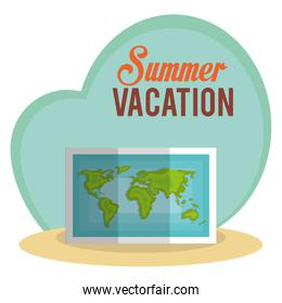 summer vacations with paper map