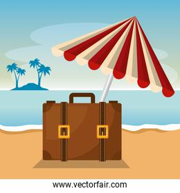 summer time with suitcase and umbrella
