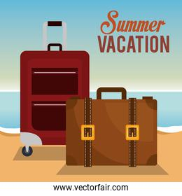 summer vacations with suitcases beach scene