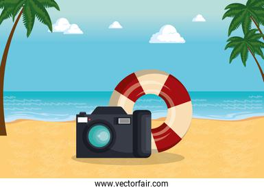 summer time with camera and float