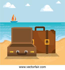 summer vacations with suitcases