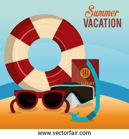 summer enjoy beach with icons