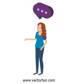 young woman talking with speech bubble