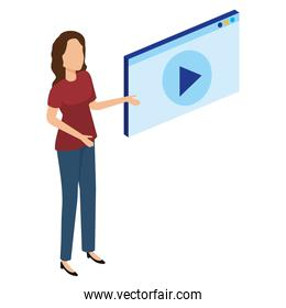 woman with media player interface