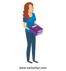 woman with text books