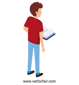 faceless man with text books
