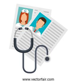 medical staf curriculums vitae with stethoscope