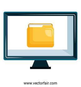 monitor computer with folder