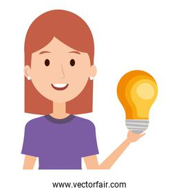 woman with bulb light