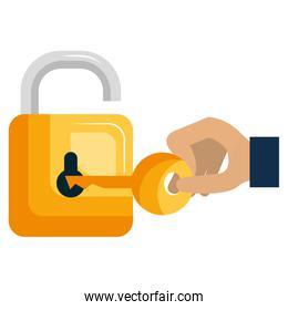 hand with secure padlock and key