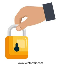 hand with safe secure padlock