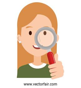 woman with search magnifying glass