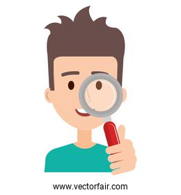 man with search magnifying glass